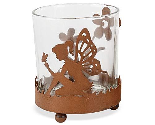 Matches21 Portavelas de cristal para velas de té de metal con diseño de hada y flores, con...