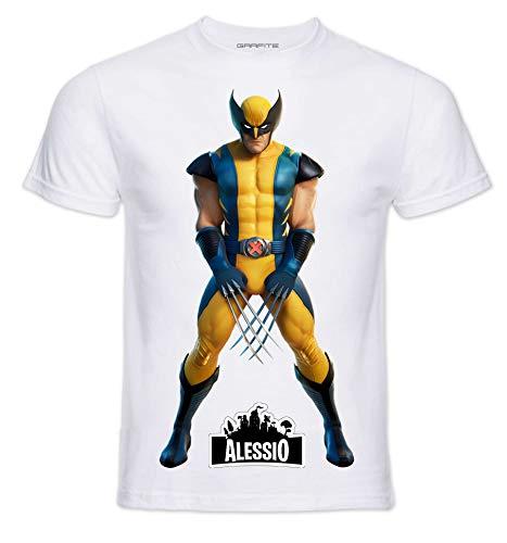 T-Shirt Personaggi Skin PRO' con Stampa Personalizzata. Scegli L'Immagine Che preferisci e personalizzala ►Gratis◄ con Il Nome Che Vuoi (5-6 Anni, Wolf)