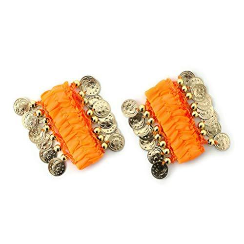 Healifty Bauchtanz Handgelenk Manschetten Chiffon Münze Knöchel Arm Armbänder Armband Tänzer Kostüm Zubehör für Damen Mädchen Frauen (Gelb)