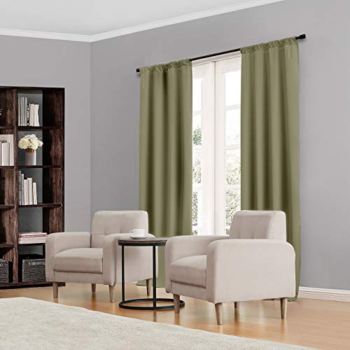 """ECLIPSE Kendall Thermal Insulated Single Panel Rod Pocket Darkening Curtains for Living Room, 42"""" x 84"""", Artichoke"""