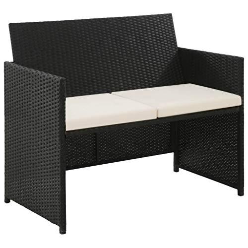 Lounge Sofa 2-Sitzer | Polyrattan Lounge Gartenset Sofa | Gartenmöbel Couch Bank Rattan | Poly Rattan Gartensofa | Elemente erweiterbar - In/Outdoor Lounge Sessel | Poly Rattan 100x56x85 cm, Schwarz