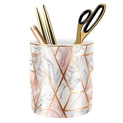 WAVEYU Pen Holder for Desk, Pencil Cup for Desk, Durable Ceramic Desk Organizer Makeup Brush Holder Golden Marble Design Pencil Holder Ideal Gift for Office, Classroom, Marble