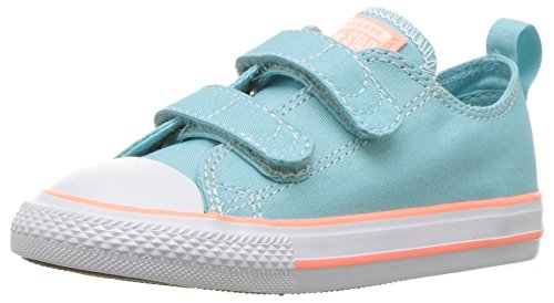 Converse Unisex-Child Chuck Taylor All Star 2V Seasonal Low Top Sneaker, Bleached Aqua/Crimson Pulse, 10 M US Toddler