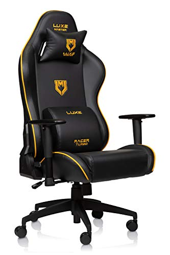 Luxe Racer Turbo Gaming Chair and Desk Chair- Black Body with Black seat Side Panels and Gold welt Cord
