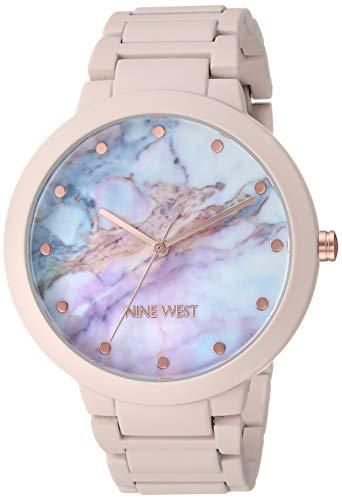 Nine West Women's NW/2274MAPK Rubberized Pink Bracelet Watch
