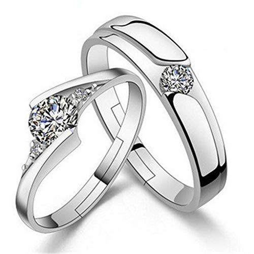 Beydodo Anillos Mujer Plata de Ley 925 Finos Redondo Cristal Blanca Anillos Plata Ajustables (Precio para 1 Pcs)
