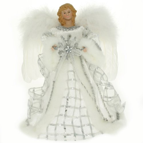 WeRChristmas Angel Decoration Christmas Tree Top Topper with Feather Wings, 25 cm - Silver/White