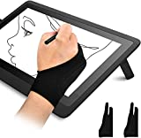 OTraki 2 Pack Artist Gloves for Tablet Digital Drawing Glove Two Fingers Thicken Palm Rejection Glove for Graphics Pad Painting Good for Right Hand or Left Hand (2.75 x 7.08 inch)