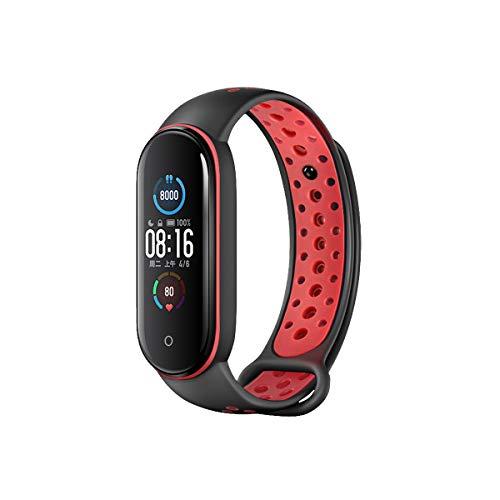 Aerku Pulsera compatible con Xiaomi Mi Band 6 para mujer y hombre, silicona de repuesto para pulsera de fitness y pulsera deportiva para Xiaomi Mi Band 6 – Negro y rojo