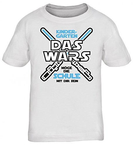 Einschulungsgeschenk Erstklässler Schulkind Kinder T-Shirt Laserschwert - Kindergarten Das Wars, Größe: 152/164,Weiß