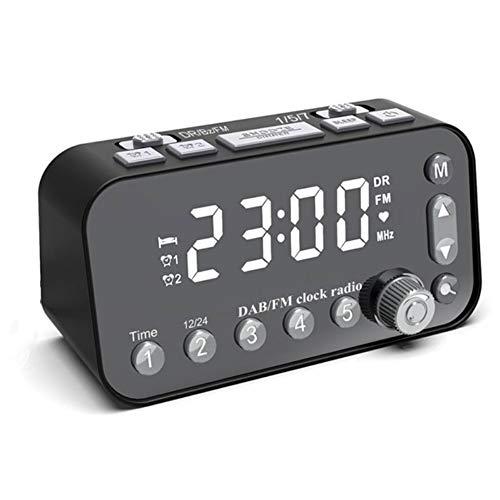 LG&S FM/Dab/Dab + Radio Digital Agradable Sonido Estéreo Reloj Radio Alarma Pantalla Gigante Configuración De Alarma Dual, Negro