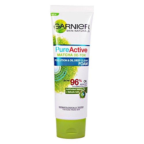 Garnier Pure Activo Matcha De-Tox follution & Aceite limpieza profunda espuma acné propensos Skin té verde 50ml piel grasa suciedad contaminación partículas