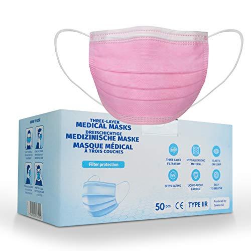 50x Medizinische Einwegmasken - EN14683 Typ IIR mit 99% BFE - Chirurgischer Gesichtsmaske mit 3-lagigen Filtertuch - 100% Made in EU - CE Zertifiziert - Pink