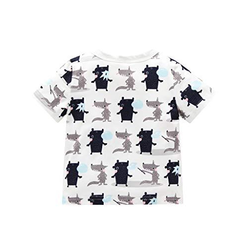 Julhold - Camiseta de manga corta con estampado de perro de algodón para bebés de 0 a 3 años