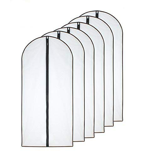 Moth Proof Garment Bags 60 x 100cm(24'' x 40'') Black Side Breathable Clear Full Zipper Bags for Clothes Storage( Pack of 6 )