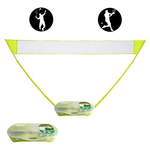 HWY Tragbares Badmintonnetz mit Ständertrage, zusammenklappbares Volleyball-Tennis-Badmintonnetz für Außen- / Innenplätze, Hinterhof, einfache Einrichtung