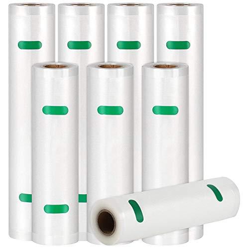Huante 8 rollos de bolsas selladoras al vacío para ahorrar alimentos, bolsa de grado comercial más gruesa, resistente, se adapta a todos los estilos de abrazadera de vacío