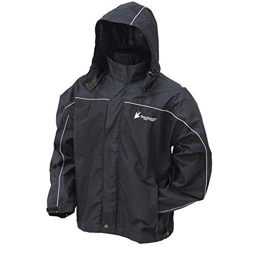 FROGG TOGGS Men's Toadz Highway Reflective Waterproof Rain Jacket, Black/Silver, Medium