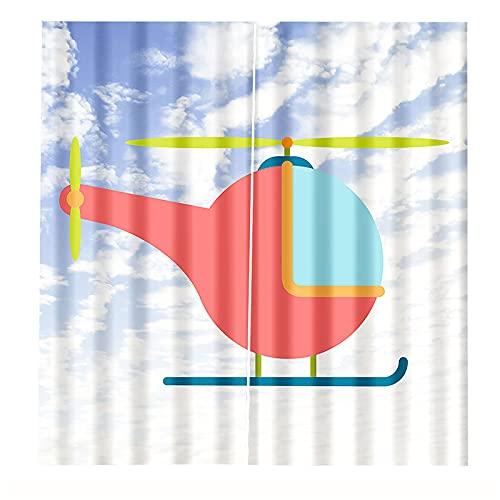FACWAWF Impresión 3D Avión De Papel Amarillo Sombreado Protector Solar Cortinas De Aislamiento Térmico Decoración De La Cortina del Hogar Cortinas del Dormitorio De La Sala De Estar 2xW140xH175cm