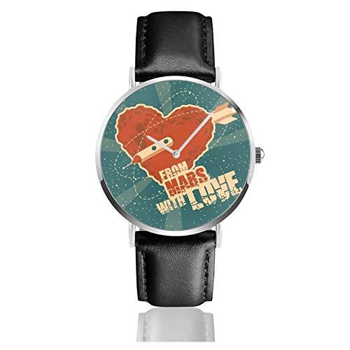 Klassische Armbanduhr von Mars with Love, schwarzes Lederarmband, legere Uhren