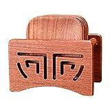 6 posavasos de madera redondos cuadrados decorativos con soporte para café (marrón claro, tamaño: cuadrado)