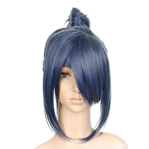 Indigo Bleu Styled courte Length Anime Cosplay Costume perruque with longue Bangs