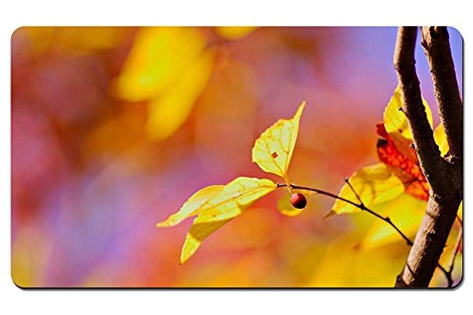 読みやすさやる晴れ黄色の葉、赤いベリー パターンカスタムの マウスパッド 植物?花 デスクマット 大 (60cmx35cm)