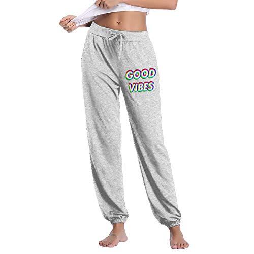 HX Shop Good Vibes is Positive Feelings Women's Long Comfy Drawstring Trousers Waist Elastic Pants Yoga Sweatpants