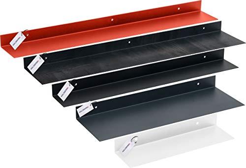HOLZBRINK Metall Wandregal, Schweberegal, Hängeregal, L-Form, 110x50 mm, Länge: 40 cm, Verkehrsweiss, HLMW-02A-40-9016