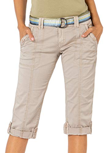 Fresh Made Damen Capri-Hose 3/4-Shorts mit Metallic Gürtel beige M