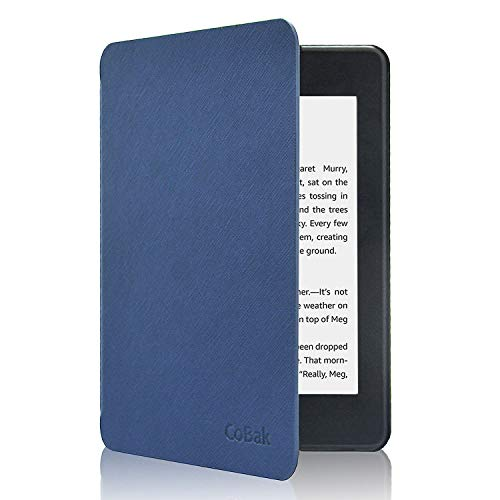 CoBak Kindle Paperwhite Case - Latest PU Leather Smart Cover with Auto Sleep Wake Feature for Kindle Paperwhite 10th Generation 2018 Release Dark Blue