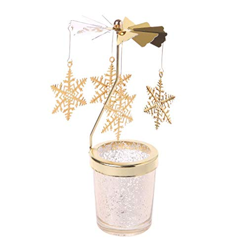 Fliyeong Weihnachten Rotierende Spinning Karussell Teelicht Kerzenhalter Center Home Decor Geschenke Hohe Qualität