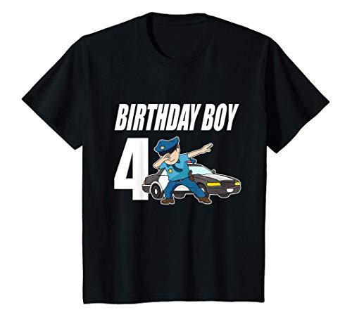 Niños 4º Cumpleaños Dabbing Policía Idea Del Regalo Policía 4 Años Camiseta