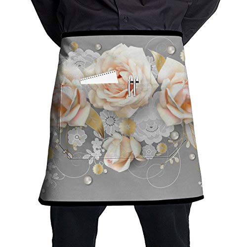Dingl Witte rozen, Hollandse Kant En Gouden Bladeren 1 Stuk Verstelbare Halflange Schort Pocket Voor Mannen En Vrouwen In Koken, Barbecue En Bakken