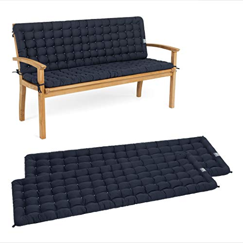 HAVE A SEAT Luxury - Sitzpolster-Set mit Rückenteil für Gartenbank, Bequeme Gartenbankauflage, waschbar bis 95°C, pflegeleichtes Sitzbank Polster, Made in Germany (110 x 48 cm, Marine-Blau)