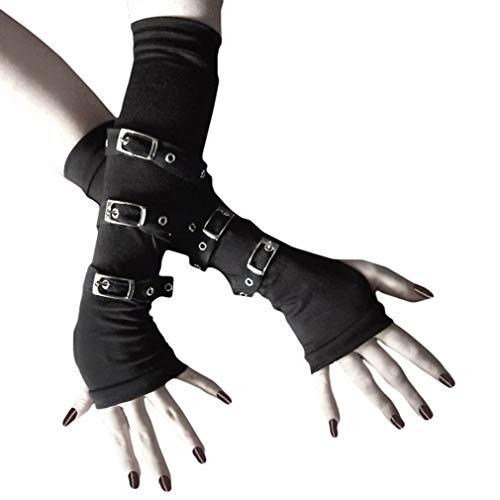 Juleya Fingerlose Handschuhe Vintage Steampunk Mittelalter PU Leder Handschuhe Einstellbar Laces-up Lange Handschuhe für Wikinger LARP Renaissance