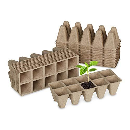 Relaxdays Anzuchttöpfe 24er Set, Anzuchtplatten für 240 Setzlinge, Papier, biologisch abbaubar, HBT: 5,5x22x8,5cm, Natur