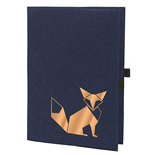 RaketeBerlin - Funda de fieltro A4 diseño de zorro Origami azul marino/bronce. A4