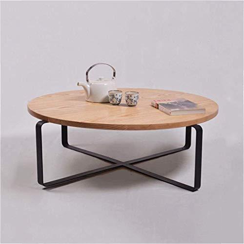LY88 smeedijzer massief hout ronde theetafel salontafel, wachtruimte bank tafel woonkamer meubilair eettafel