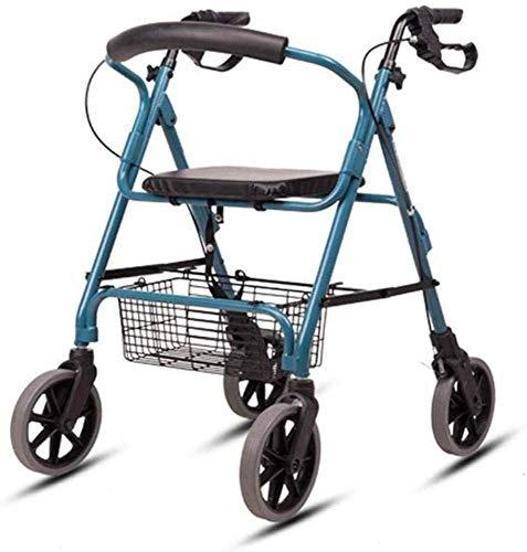 ZTBXQ Rollatoren Leichtes Zusammenklappen 4 Räder Medizinische Instrumente Senioren Zusammenklappbarer Rollator Walker Rollator mit hochklappbarem Sitz Abnehmbare Rückenstütze für ältere Menschen
