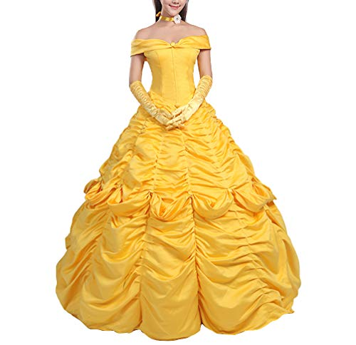 Bella vestido Carnaval Cosplay Mujer Dress Up Belle Woman Disfraz BEL001 amarillo L