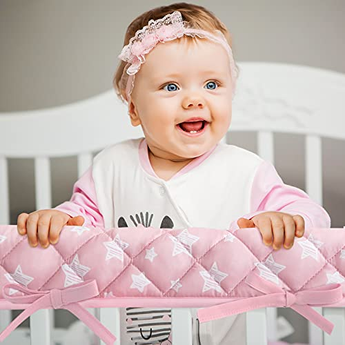 3-Piece Baby Pink Stars Crib Rail Cover Protector Set from Chewing, Crib Rail Teething Guard for Standard Cribs, 1 Front Rail and 2 Side Rails, Secure Crib Rail Guard