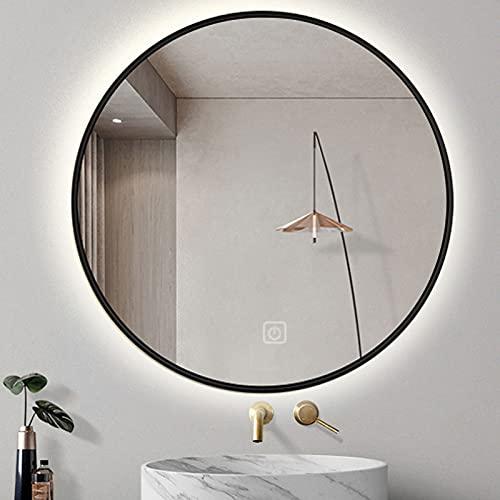 LBSI Rotondo Specchio da Bagno LED,Struttura in Metallo Specchio da Parete, con Touch dimmerabile,Specchi Speciali Star Hotels (Nero Oro)