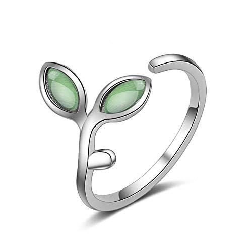 Esberry Ring 14 Karat vergoldet Katzenauge Stein Grün Blatt koreanischer Stil süß offen für Mädchen und Frauen