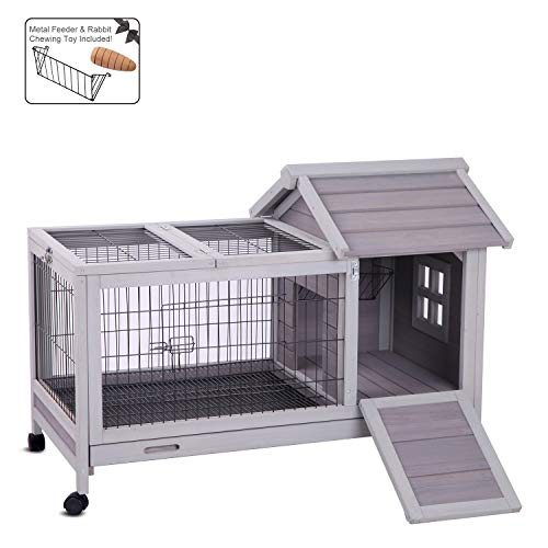 """Aivituvin Rabbit Hutch Outdoor and Indoor with Wheels, Wooden Bunny Cages with Deeper No Leak Tray - Upgrade with Metal Wire Floor, 40.4"""" L x 23.6"""" W x 28.3"""" H"""