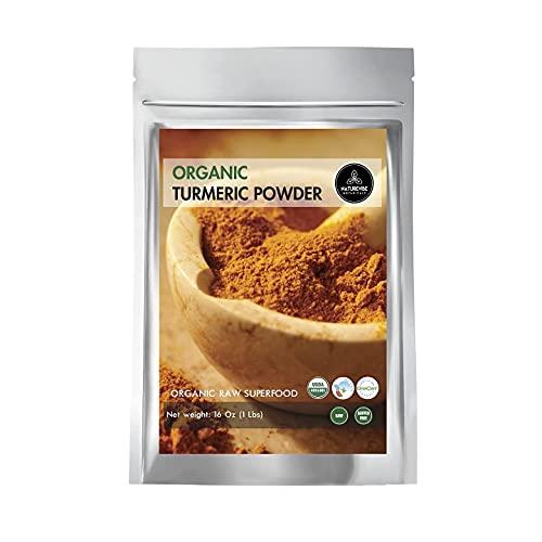 Polvo de raíz de cúrcuma orgánico de alta calidad con curcumina (1 libra), sin gluten, sin OMG y apto para keto, 16 onzas | potenciador de inmunidad | condimentos indios. [El embalaje puede variar]