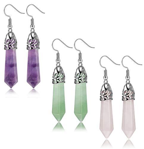 FIBO STEEL Quartz Stone Dangle Earrings for Women Healing Chakra Gemstone Earring