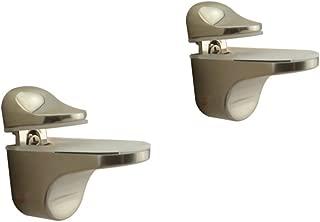 Adjustable Wood/Glass Shelf Bracket Wall Mount, Brushed Nickel, 2 Pack