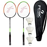 Feroc Aluminum Badminton -Racket Set of -2 with- 3 Pieces Feather shuttles