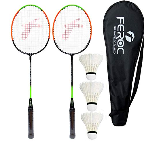 Feroc Aluminium Badminton-Racket, Set of 2 with Feather Shuttles, 3 Pieces with Full-Cover